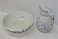 Vintage Basin & Water Pitcher (Cracked)