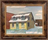 Oil on Canvas Board House in Ste Anne De Bellueiu
