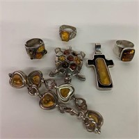 Collection of Amber and Sterling Jewelry