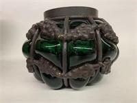 Antique Dark Green Iron Caged Glass Vase