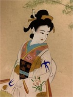Pair of Antique Japanese Watercolour on Silk