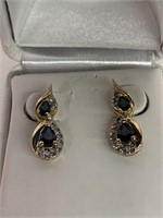 Pair of 14K Yellow Gold and Gemstone Earrings