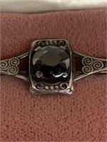 Sterling Silver / Black  Alaskan Diamond Brooch