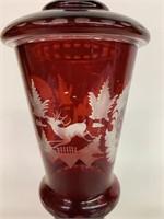 """Beautiful 10"""" Bohemian Cut Glass Vase"""