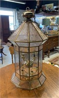 Large Hanging Brass and Glass Light Fixture