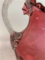 Late 1800's Hand Blown Cranberry Glass Pitcher