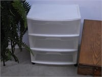 Small Coffee Table, Plastic Storage Tower, Fern