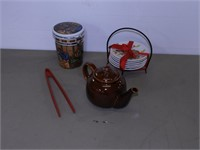 Tray of Ceramic Teapot, Canister, Plates, etc.