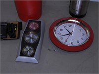 Box of Assorted Items - Thermos, Clock, Etc.