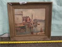 Boat Scene, Print In Glassed Frame. F.h. Brigden.