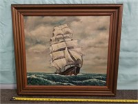 "Ship Painting By S.k Night. In Wood Frame. 33"" X"