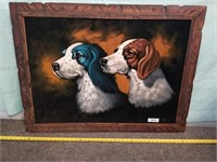 "Dog Painting On Fabric In Wooden Frame. 39"" X 29"""