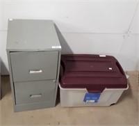 Small Filing Cabinet And Plastic Storage Bin