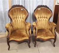 2 Matching Vintage Victorian Parlor
