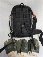 Back Pack With Three Pairs Of Work Gloves.
