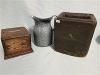Water Pitcher, And Two Old Boxes. See Photos.