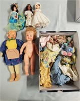 Vintage Doll Lot. Five Dolls Along With Box Of