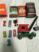 Mixed Lot Of Vintage Tins, Airequipt, Tin Toy,
