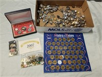Lot Of Coins, Collector Spoons, Pins Ect.