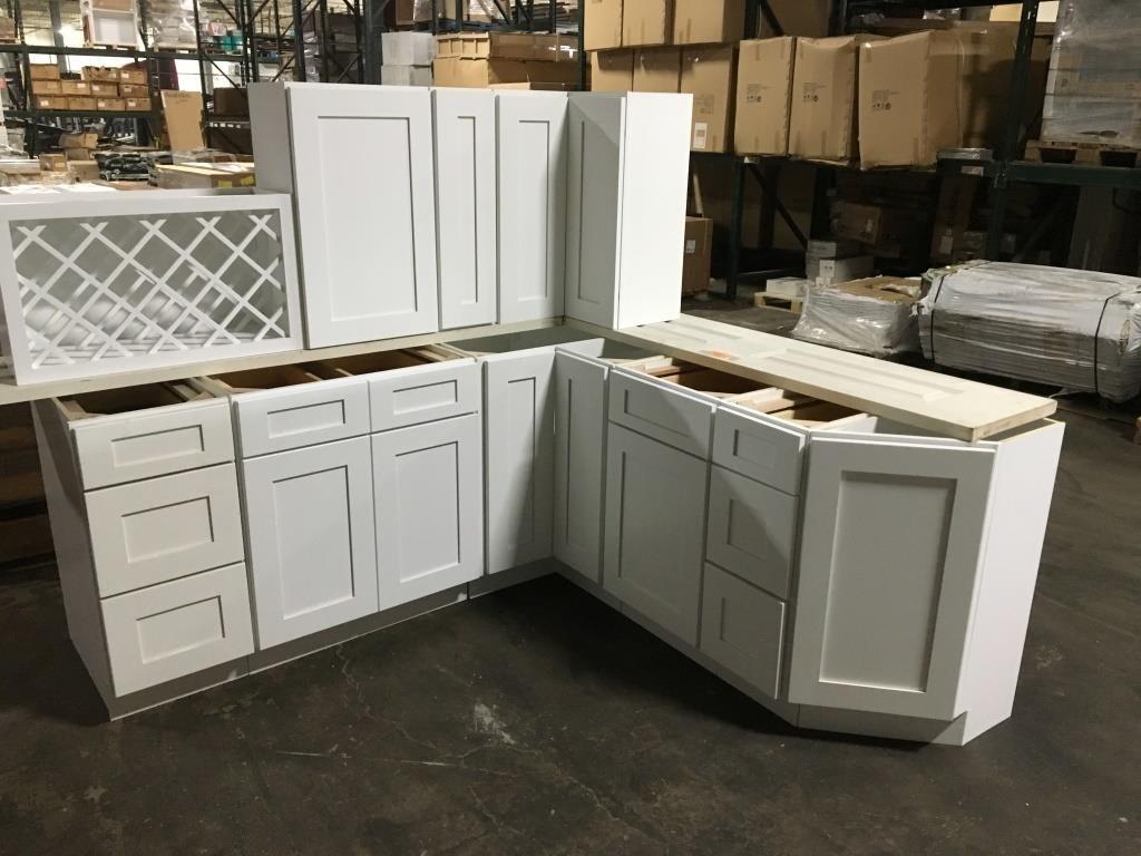 Ice White Shaker Kitchen Cabinet Set | Surplus Liquidators LLC