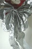 Silver Fabric Christmas Bow