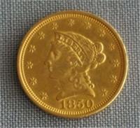 1850 Gold Liberty 2 1/2 Dollar Coin