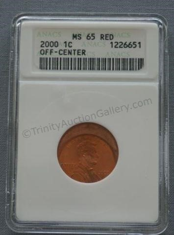 2000 Lincoln Penny Error MS-65 Red Off Center Coin | Trinity
