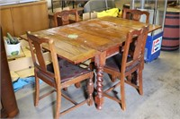 Solid Wood Kitchen Table with 4 Chairs -