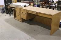 "Solid Oak L Shaped Computer Desk - 68"" x 77"" on"