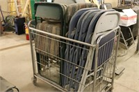 Metal Cart full of Folding Chairs