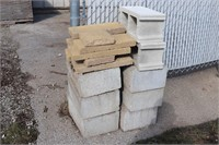 Assorted Cinder Blocks and Outdoor Pavers