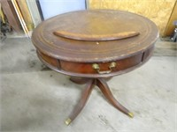 "Antique Round Wooden Table - 30"" Across x 28H"