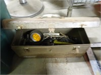Vintage Metal Tool Box with Tools and Hardware