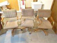 Three Vintage Rolling Kitchen Chairs