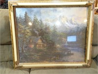 Framed Lakehouse Painting - 35x31