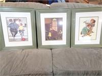 Set of Three Framed Norman Rockwell Prints 21x25