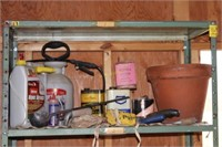 Metal Shelf with Garden Items and More