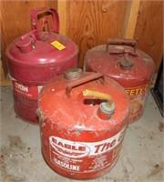 Three Metal Gasoline Cans