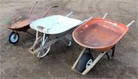3 Vintage Wheel Barrows