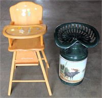 Wooden High Chair, Painted Milk Can w/Iron Tractor Seat
