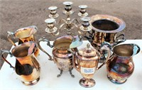 Misc Silver Pcs, Pitchers, Candle Holders