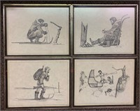 Set of 4 Inuit Minto Screen Prints Dated 3/69