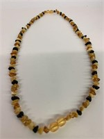 Antique Amber and Black Stone Necklace