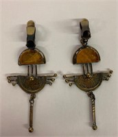 Pair of Stunning Amber-Hammered Brass Ear Rings