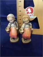 Pair Anri wood carving figurines