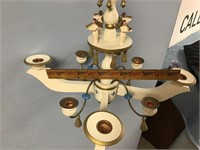 Wood candle chandelier told painted