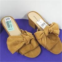 Ladies Suede Like Heeled Sandal - Size 5