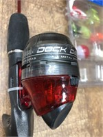 2- rods and reels. Zebco 202 and Dock Demon
