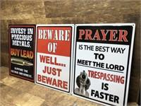 3 metal signs