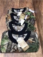 4- short sleeve camo shirts, 1 M, 3- Sm